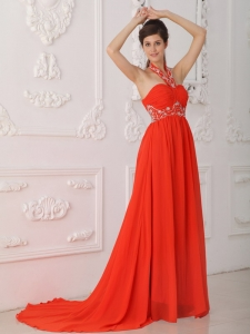 Red Empire Halter Chiffon Beading Red Prom / Evening Dress