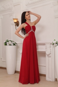 Empire One Shoulder Chiffon Beading and Rush Red Prom Dress