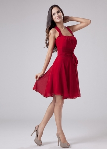 Red Halter Chiffon Knee-length A-Line Bridesmaid Dress Wedding Party