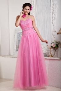 Rose Pink Empire Sweetheart Floor-length Tulle Beading Prom Dress