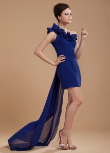Royal Blue One Shoulder Prom / Cocktail Dress With Hand Made Flower