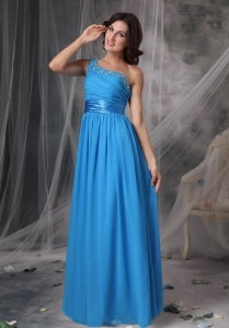 Sky Blue One Shoulder Floor-length Chiffon Beading Prom Dress