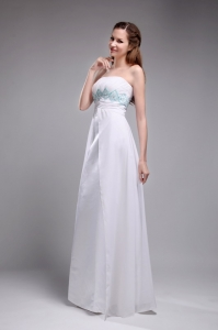 Sweet Empire Chiffon Ruch and Beading White Prom Dress