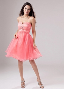 Sweetheart A-Line Beading Mini-length Prom Dress Watermelon
