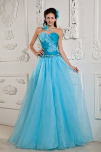 Blue A-line / Princess Sweetheart Chiffon Beading Prom Dress