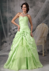Yellow Green Sweetheart Floor-length Taffeta Beading Prom Dress