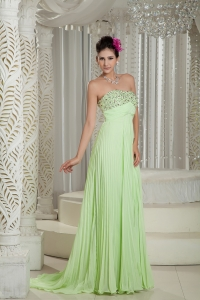 Yellow Green Empire Strapless Brush Train Beading Prom Dress