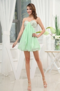 Apple Green Sweetheart Cocktail / Homecoming Dress Sequins