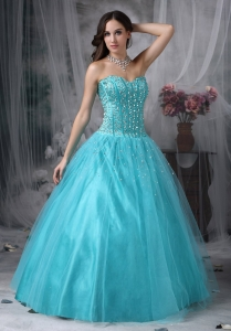 Aque A-line Sweetheart Floor-length Tulle Beading Prom Dress
