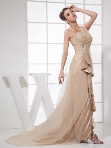 Asymmetrical Champagne Chiffon Brush Train Prom Dress