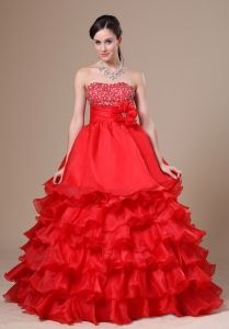 Beaded Decorate Hand Made Flower Ruffled Prom / Evening Dress