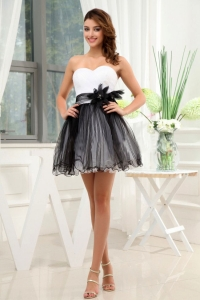 Black and White Prom / Cocktail Dress With Hand Made Flower