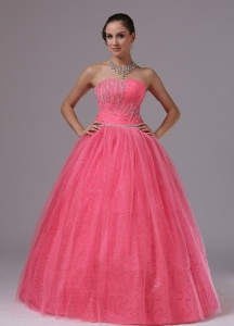 Coral Red With Beaded Decorate Bust For 2013 Prom Dress