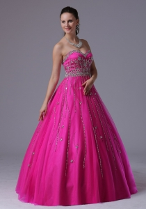Custom Made Fuchsia Sweetheart Beaded Decorate Prom Dress