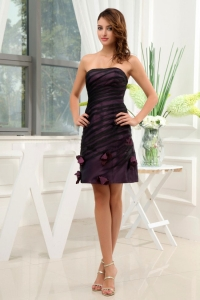 Dark Purple Homecoming Dress With Hand Made Flowers