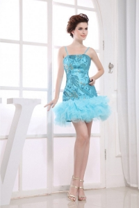 Embroidery Decorate Bodice Aqua Blue Spaghetti Straps Prom Dress