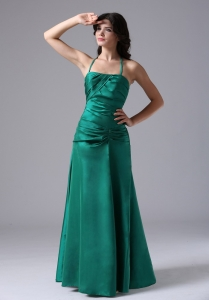 Halter Dark Green Ruched Bodice For Prom / Evening Dress