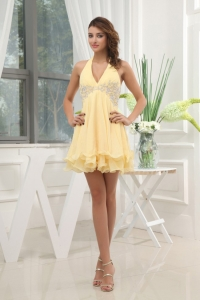Halter Yellow Homecoming / Cocktail Dress With Appliques