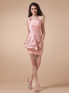 Halter and Ruched Bodice For Prom Dress in Baby Pink