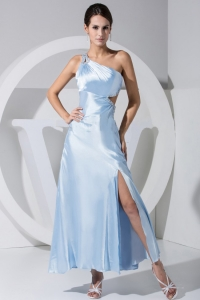 High Slit Beading Decorate Bodice One Shoulder Prom Dress