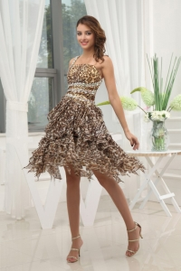 Leopard Prom / Cocktail Dress One Shoulder Beaded Ruffled
