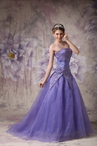 Lilac Strapless Brush Train Organza Appliques Prom / Evening Dress