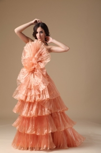 Orange Red A-line Strapless Brush Train Organza Pleat Prom Dress