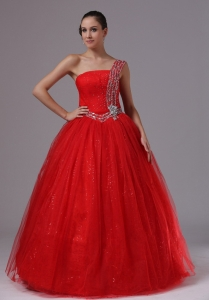 Paillette Red Prom Dress With Beaded Decorate One Shoulder