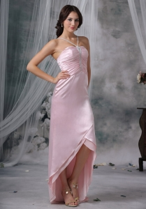 Pink Column / Sheath Straps High-low Beading Prom Dress
