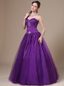Purple A-Line Beading Tulle Sweetheart Prom Dress Floor-length