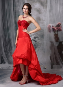 Red Sweetheart High-low Taffeta Hand Made Flowers Prom Dress