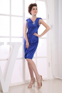 Royal Blue Prom Dress With V-neck Knee-length Satin