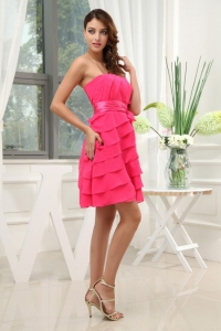 Ruffled Layers Strapless Mini-length Hot Pink Sash Prom Dress