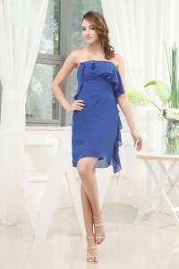 Simple Blue Chiffon Knee-length 2013 Prom Dress Strapless