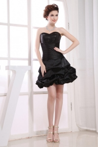 Sweetheart Pick-ups Black Taffeta Mini-length 2013 Prom Dress