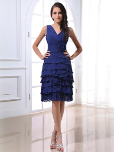 V-neck Royal Blue Prom Dress Ruffled Layers Hand Made Flowers