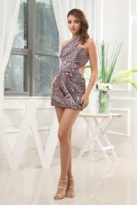Leopard Cocktail Dress With One Shoulder Mini-length For Club
