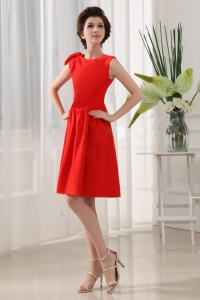 A-Line Bridesmaid Dress Red Knee-length Scoop Knee-length