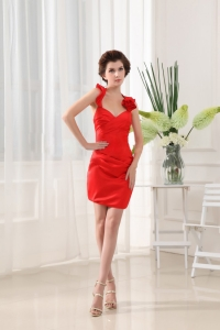 Beading Column Halter Red Taffeta Mini-length Prom Dress