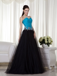 Blue and Black Sweetheart Taffeta and Tulle Appliques Prom Dress