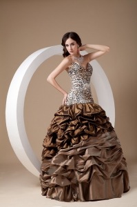 Brown Ball Gown Sweetheart Leopard Pick-ups Prom Dress