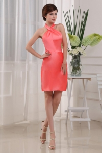 Column Mini-length Taffeta Halter Prom Dress Coral Red
