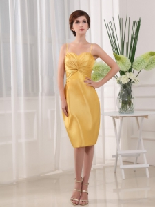 Column Straps Prom Dress Taffeta Knee-length Homecoming Yellow
