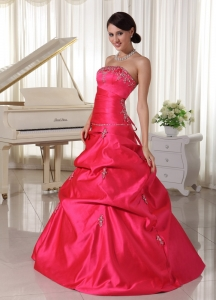 Custom Made Hot Pink With Beading Prom Dress With Pick-ups