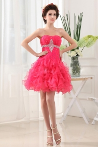 Hot Pink Prom Dress With Ruffled Layers and Beading Ruch
