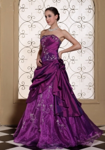 Purple Prom Dress For 2013 Taffeta and Organza With Embroidery