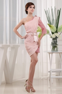 Baby Pink 2013 Prom Cocktail Dress With One Shoulder Mini-length
