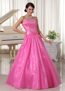 Rose Pink Embroidery With Beading Prom Dress With Ruch