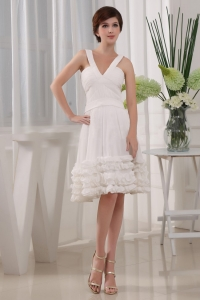 Ruffles A-Line Chiffon V-neck Knee-length Prom Dress White