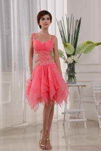 Sexy Knee-length Straps Organza Beading Prom Dress Watermelon
